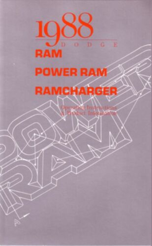 1988 Dodge Ramcharger Owners Manual User Guide Reference Operator Book Fuses OEM