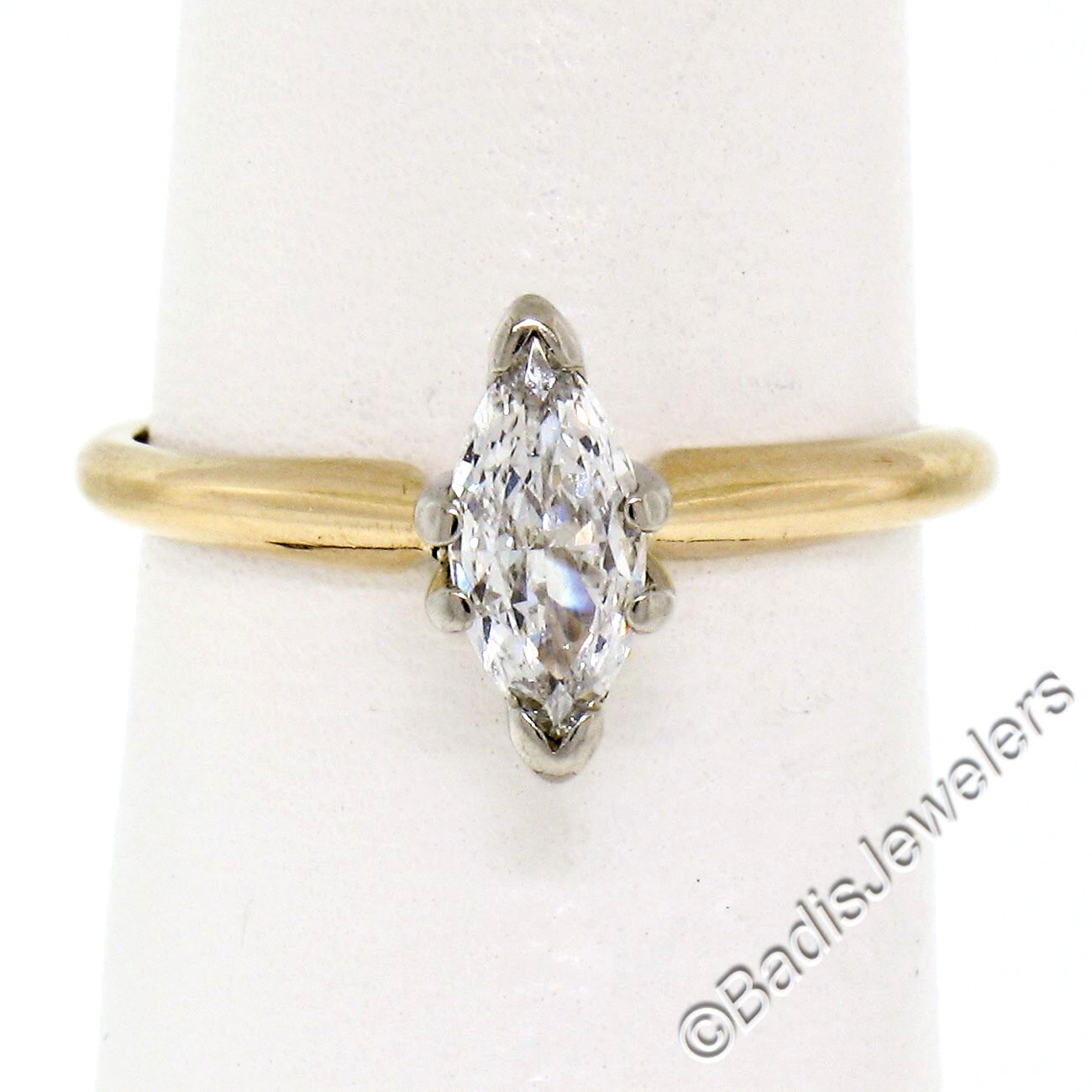 18K Two Tone gold .38ct Marquise Cut Prong Set Diamond Solitaire Engagement Ring