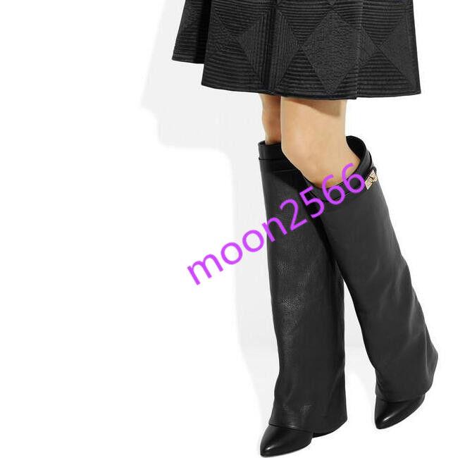 prezzi bassi Sexy donna Leather Knee High Buckle Show Wear Wear Wear Riding stivali scarpe Stylish Wedge  compra nuovo economico