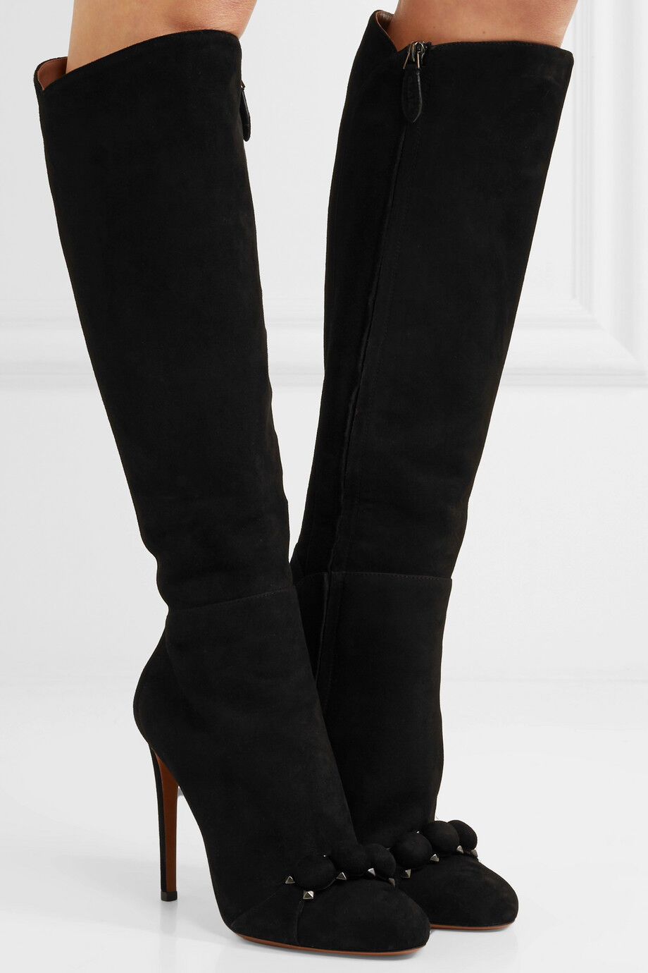 $1710 Azzedine Alaia Suede Black Bombe Knee Boots Heels Shoes Booties 37