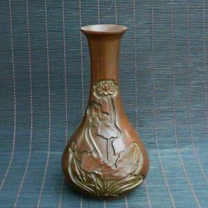 Chinese Exquisite copper Handmade Lotus vase