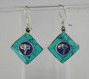 Asian-Sterling-silver-Earring-Hook-top-Turquoise-stone-jewelry-handmade-GLE51