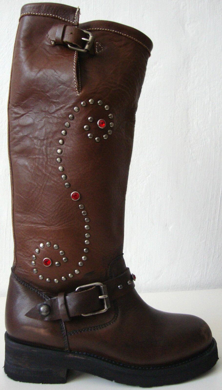 ASH NORTON Stiefel Leder Boots Damenstiefel Nieten Strasssteine Braun Gr.37 NEU
