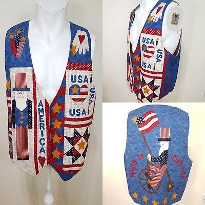Imparato Men's Vintage Fatto A Mano Blu Gilet Americano Taglia Large Usa 4th Luglio Patriottico-mostra Il Titolo Originale Giada Bianca