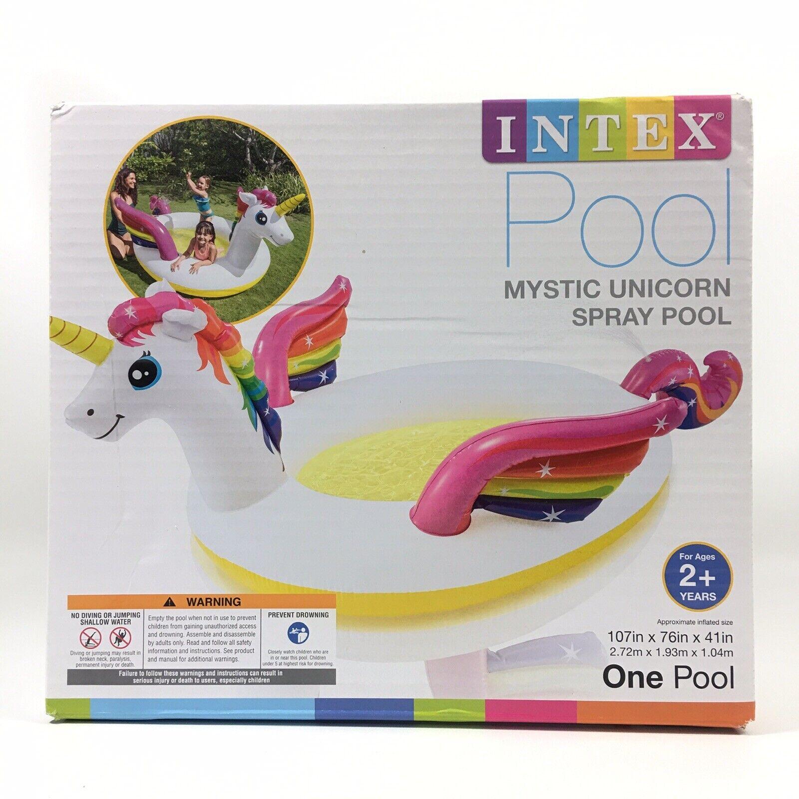 Intex Mystic Unicorn Spray Pool Inflatable White 107