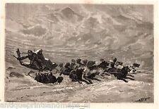 Antique print North pole eskimo dog sled sleigh 1869 holzstich Hundeschlitten