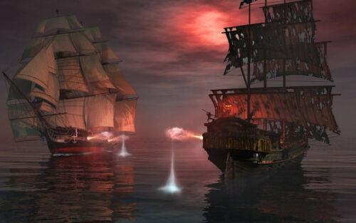 Photo murale-Pirate Ships non tissé-Panorama-Piraterie Ocean Wall-DECO 1324J