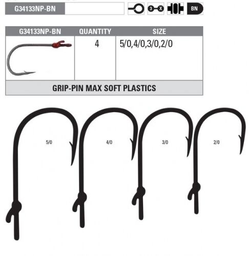 Mustad G38084NPBN-40 KVD GRIP PIN 2X FINE Hooks Size 4//0 G38084NP-BN Pack of 5