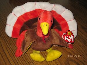 713b4a3f728 TY Beanie Babies Gobbles the Turkey RARE misprint swing tag   tush ...