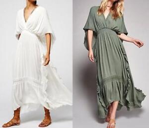 Womens Free People Bohemia Cotton Linen High Waist Dress V-Neck Holiday Maxi New