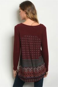 Gilli-USA-Boho-Wine-Floral-Fleece-Hi-Low-Western-Tunic-Sweater-Top-Blouse-S-M-L