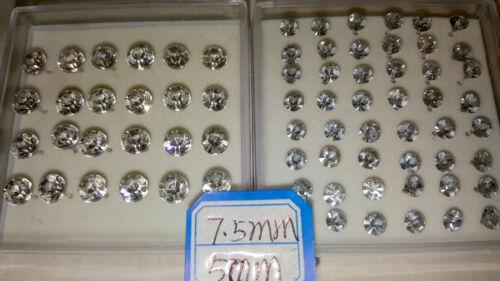 JOBLOT 36 pares 5 mm y 7.5 Mm Hipoalergénico Diamante Aretes Al Por Mayor