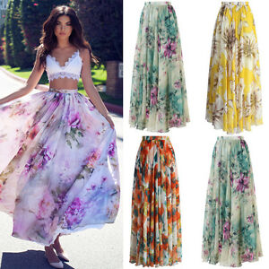 BOHO-Ladies-Floral-Jersey-Gypsy-Long-Maxi-Full-Skirt-Summer-Beach-Sun-Dress-NEW