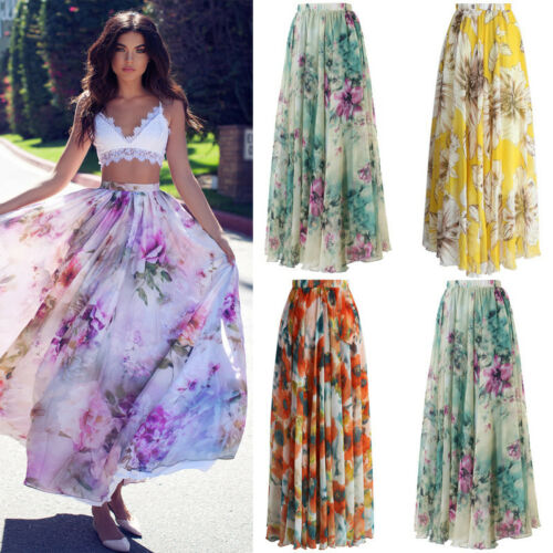 New intera Boho Long Floral sole Gypsy da Chiffon Uk Jersey Gonna Ladies Maxi Abito fxFfw