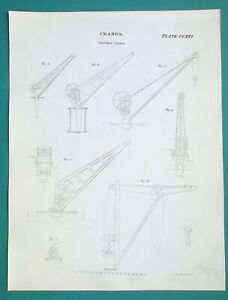 CRANES-Various-Types-Iron-Foundry-1814-Antique-Print