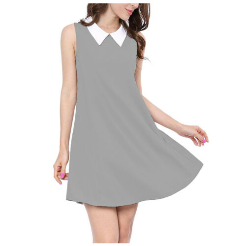 WWCSL Ladies Womens Sleeveless Flared Swing Dress Top White-Collar Comfort Dress