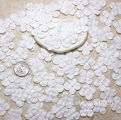 100 Off White Hydrangea Scrapbook Craft Mulberry Paper Flower Artificial Wedding
