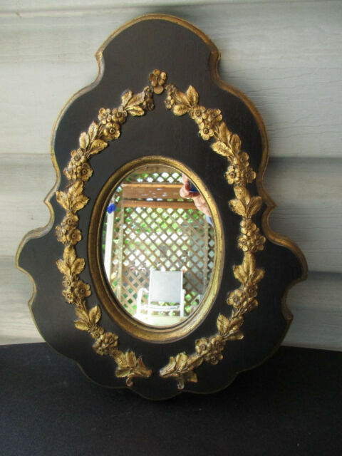 3831897e4e3f Vintage Small Oval Mirror Black   Gold Frame Ornate Gold Relief Floral  French