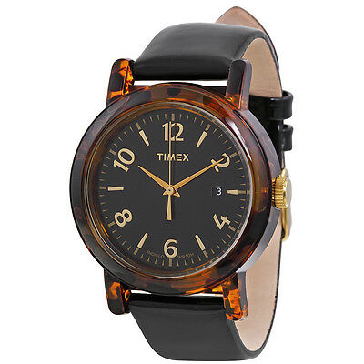 Timex Originals Black Dial Black Leather Ladies Watch T2P238
