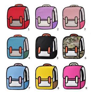 Women-2D-Drawing-3D-Jump-Style-Cartoon-Backpack-School-Bag-Travel-Rucksack-NEW