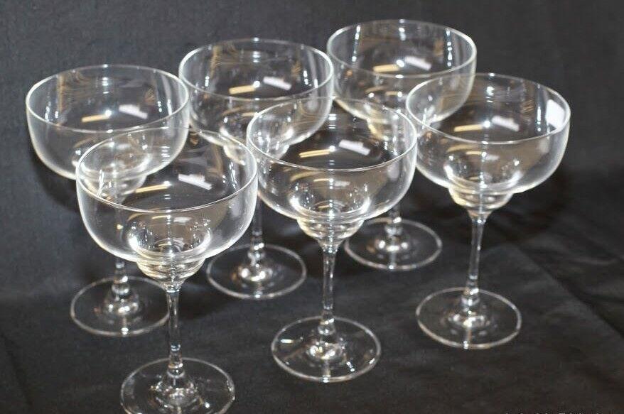 6 verres à Margarita en verre ou Coupes à glace sur pied