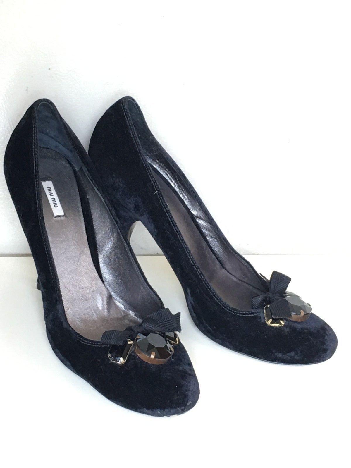 MIU MIU - Vintage Classic Black Velvet Jeweled Bow High Heel Pumps 7 37.5