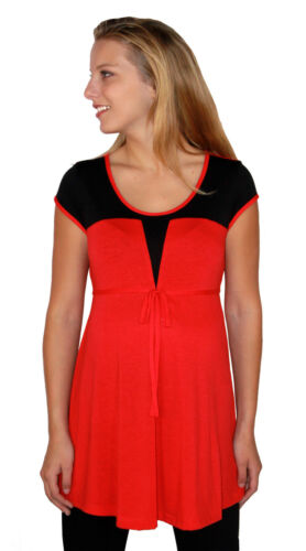 Red Black Short Sleeve Maternity Top Blouse S M L XL
