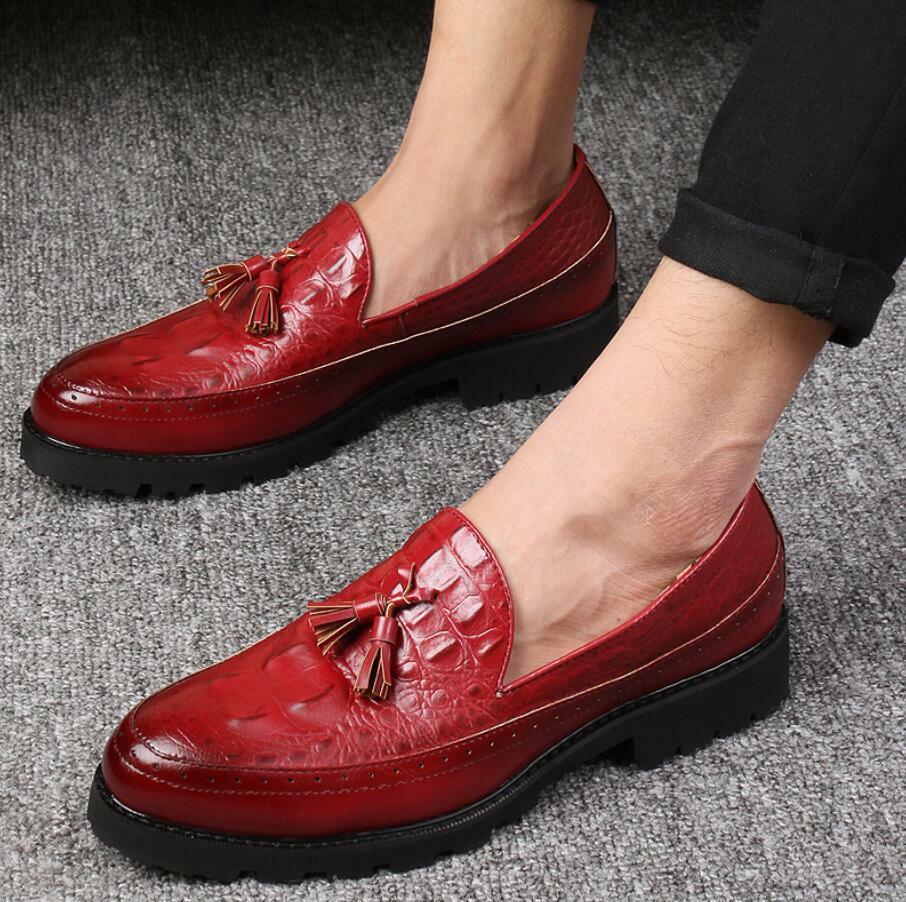8c9fb94bd34be7 Homme Hauts Talons de chaussures décontractées Motif Cuir Slip On Mocassins  Chaussures Frange A31