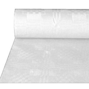 100m White Damask Paper Banquet Roll Table Cover Parties