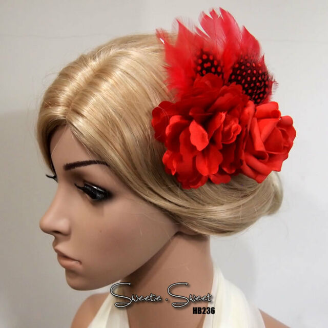 1920s VTG Gatsby Red Feather Flapper Bridal Hair Fascinator Comb Clip Headpiece