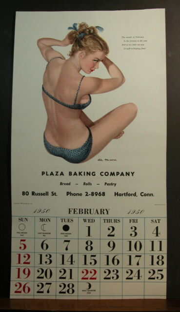 Al Moore February 1950 Esquire Calendar February Briefest So My Little Sunsuit