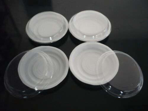 4 Empty Round Plastic Container Dollhouse Miniature Food Removable lid Display L