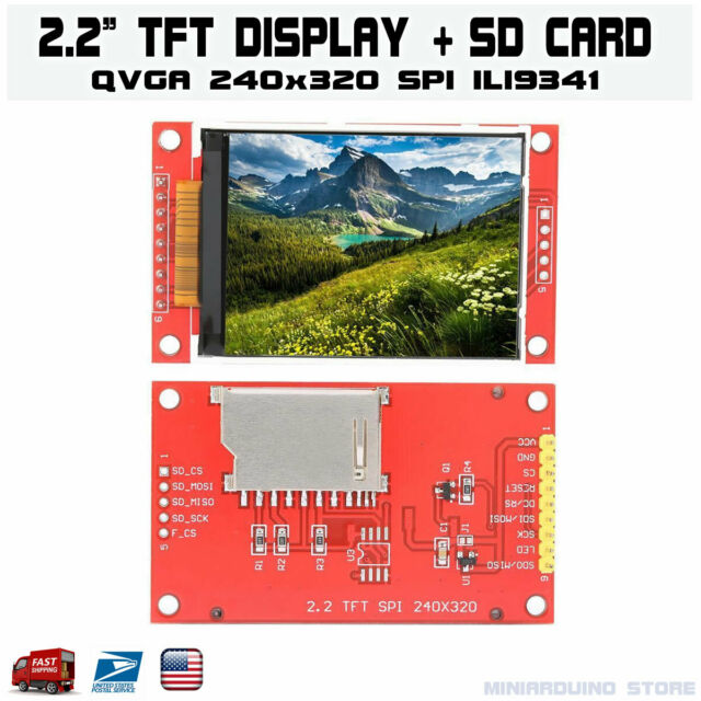 "2.2"" Serial ILI9341 SPI TFT LCD Display Module 240x320 Chip PCB Adapter SD Card"