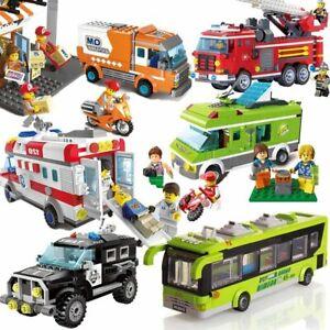 City-Police-Sanitation-Ice-Cream-Car-Truck-Building-Blocks-Sets-Bricks-Kid-Toys