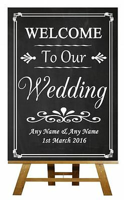 Chalkboard Welcome To Our Wedding Personalised Wedding Sign / Poster