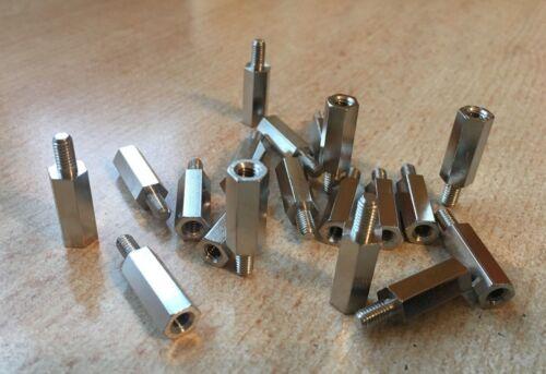 M4 x 18mm Threaded HEX Standoff   Male - Female  Spacer Brass Nickel   Z2803