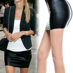 Womens-faux-leather-mini-skirt