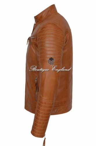 New Quilted Jacket Mens Tan Napa Biker Fashion Diamond Quilted REAL LEATHER 2565