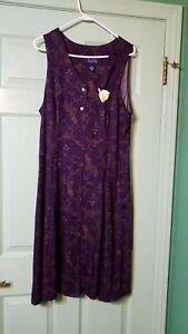 Vintage-Purple-Floral-Hillard-amp-Hanson-sleeveless-dress-sz-16-w-free-gold-pin