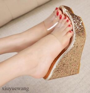 Womens-Clear-Open-toe-Platform-Sequins-High-Wedge-Heel-Slippers-Shoes-Sandals-SZ