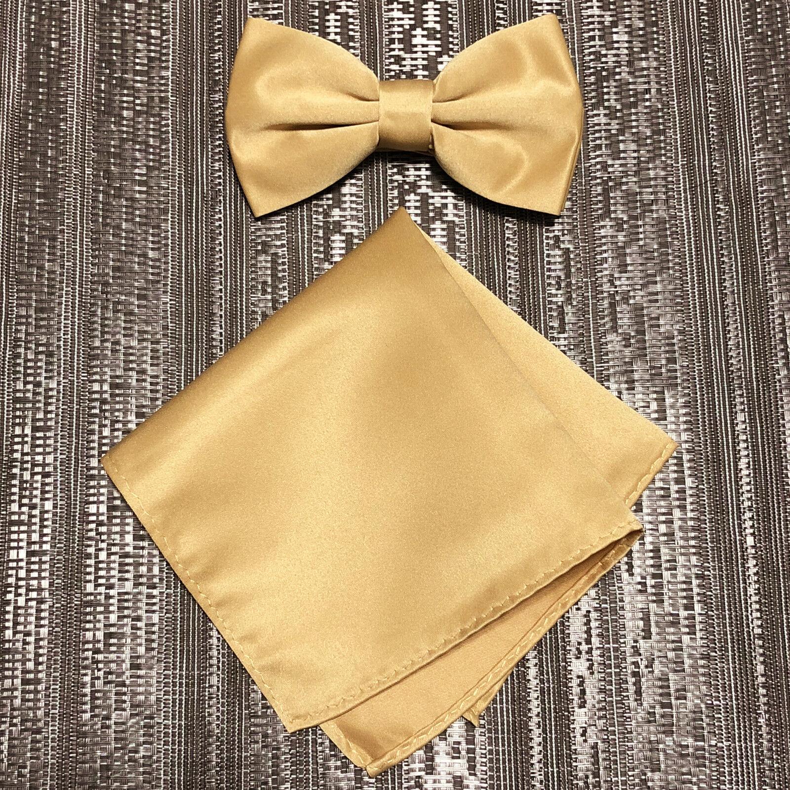 Hellbraun Gold Massiv Herren Schmetterling Stil Gebundene Fliege & Einstecktuch