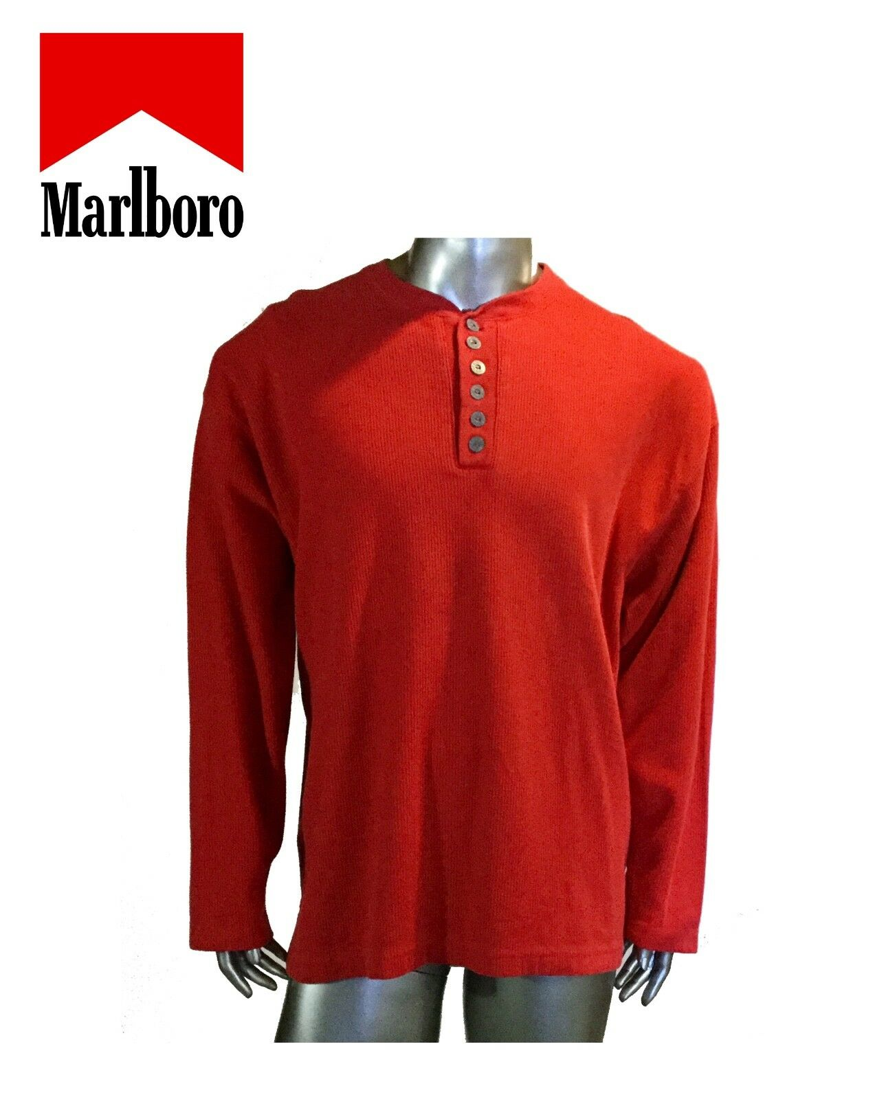 Vintage Unlimited Marlbgold Men's Long Sleeve Shirt Red, Size XXL