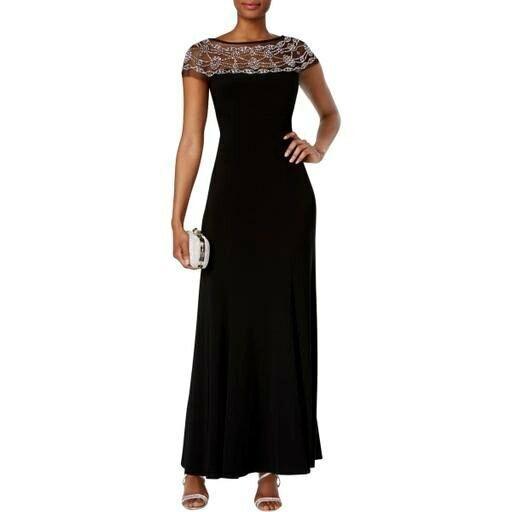 R&M Richards Beaded-Trim A-Line Gown, Formal Dress Größe 8, schwarz