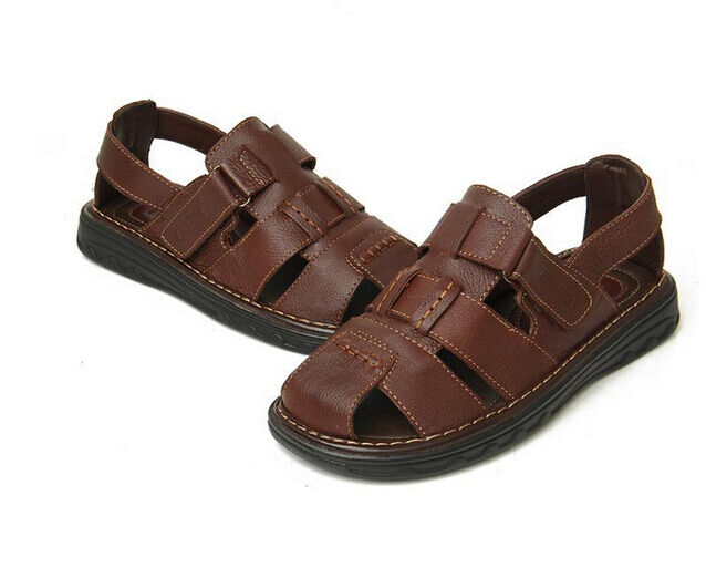 Retro Mens Fishermen Soft Leather Sport Sandals Closed Toe Beach Shoes