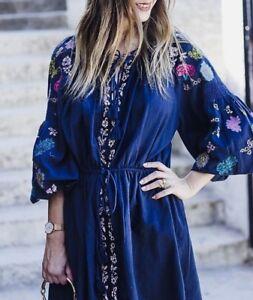 bordado Bordado marino Vestido floral túnica Zara azul floral Bordado de fluido Vestido Vestido 1pdPP