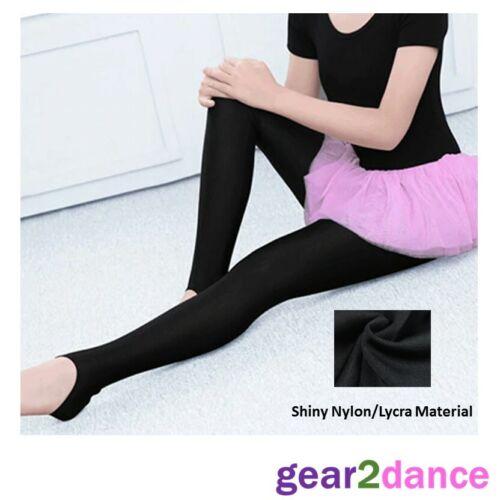 Black Shiny Lycra Stirrup Dance Gym Leggings Modern Tap Girls Age 3-11 UK Stock