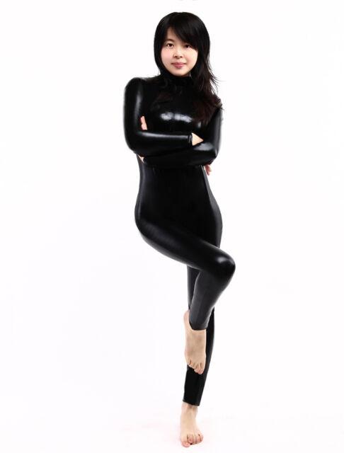 Black Shiny Metallic Unisex Catsuit Lycra Zentai Women Full Body Skin Suit
