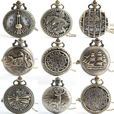 Antique Gift Bronze Tone Men Pocket Chain Quartz Pendant Watch Necklace new et