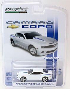 2012 chevrolet copo camaro white blue 1 64 scale greenlight 29756