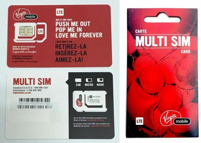 Virgin Multi Sim Card Regular Micro Nano LTE 4G / Shipping today From Canada